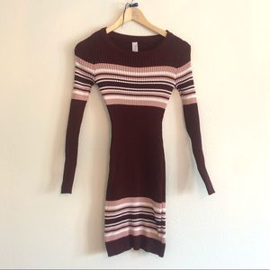 No Boundaries Maroon Tight Sweater Dress